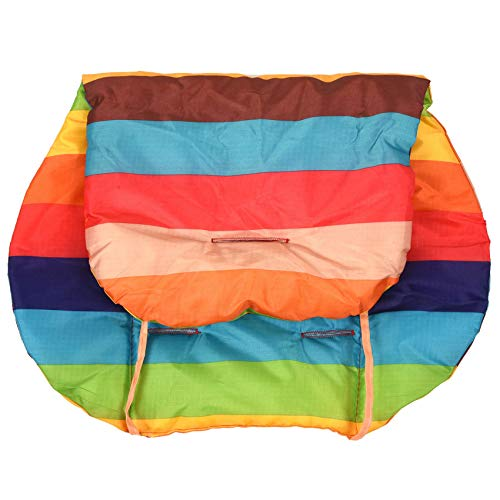 NEYOANN Cojín para cochecito de bebé bebé cochecito de bebé cojín de algodón alfombra arco iris color suave grueso cochecito silla BB coche cojín