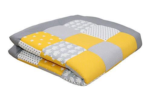 ULLENBOOM ® Baby Krabbeldecke 140x140 cm gepolstert Elefant Gelb (Made in EU) - Krabbeldecke für Baby mit 100% ÖkoTex Baumwolle, ideal als Babydecke & Spieldecke