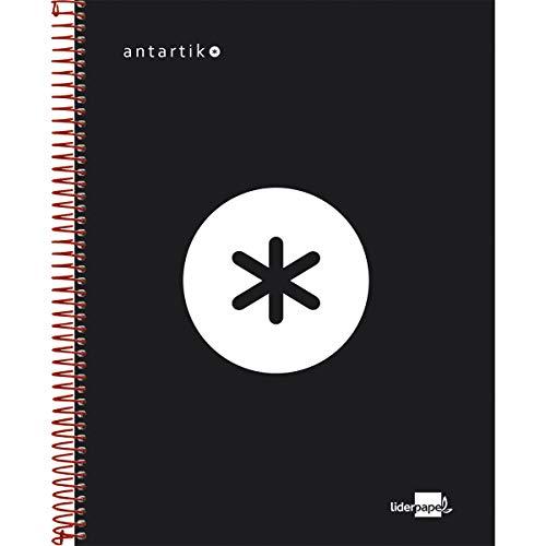 Liderpapel Cuaderno Espiral A5 Micro Antartik Tapa Forrada 120H 100 Gr Cuadro 5Mm 5 Bandas 6 Taladros Color Negro