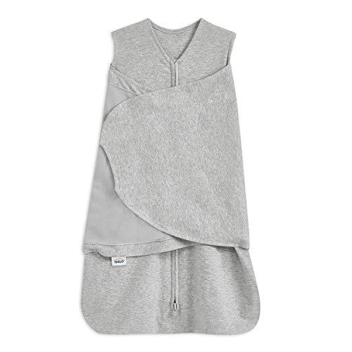 HALO® Sleep SleepSack® Pucktuch, 1.5 TOG 100% Baumwolle Pucktuch Baby, Grauer Swaddle für Neugeborene, Wickelschlafsack für mehr Sicherheit, Unisex für Jungen und Mädchen, 0-3 Monate
