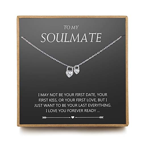 NOURISHLOV Gifts to My Girlfriend/Wife CZ Soulmate Necklace, Sterling Silver Cute I Love You Two Heart Lock Pendant for Her, Valentines Day, Anniversary, Birthday Necklaces from Husband/Boyfriend