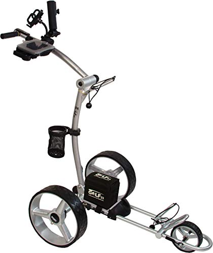 Elektro Golf Trolley PGE 3.1, 12V/33Ah, USB, GPS Halter, viel Zubehör, Silber