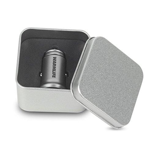 HETUI Cargador de Coche automático para vehículo con Interfaz USB Dual LED Universal para teléfono móvil con Caja de Paquete Plata