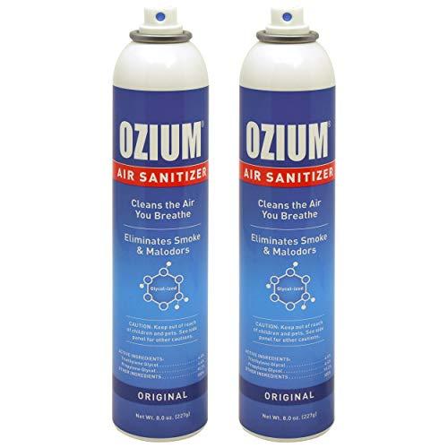 Ozium Air Sanitizer Reduces Airborne Bacteria Eliminates Smoke & Malodors Spray Air Freshener, Original, 8 Oz (2 Pack)