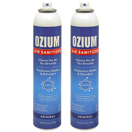 Ozium Air Sanitizer Reduces Airborne Bacteria Eliminates Smoke & Malodors Spray Air Freshener, Original, 8 Oz (2 Pack)