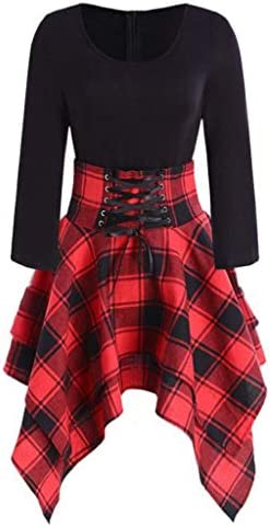 Fashion Womens Tartan Plaid Print Lace Up Long Sleeve O Neck Asymmetrical Dress Red product image
