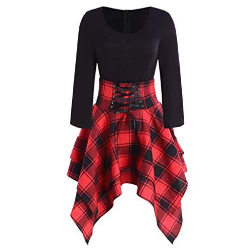 Vestido moderno para mujer, estilo informal, de manga larga, de encaje asimétrico rojo XXL