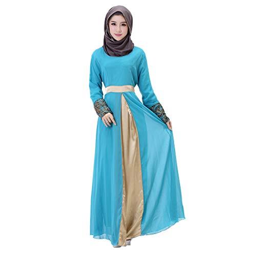 AIni Damen Muslimische Kleider,Elegante Langes Maxikleid Dubai Patchwork Kleid Islam Abaya Muslimische Kleidung Abendkleid Hochzeit Abaya Festlich Partykleid (XL,Himmelblau)
