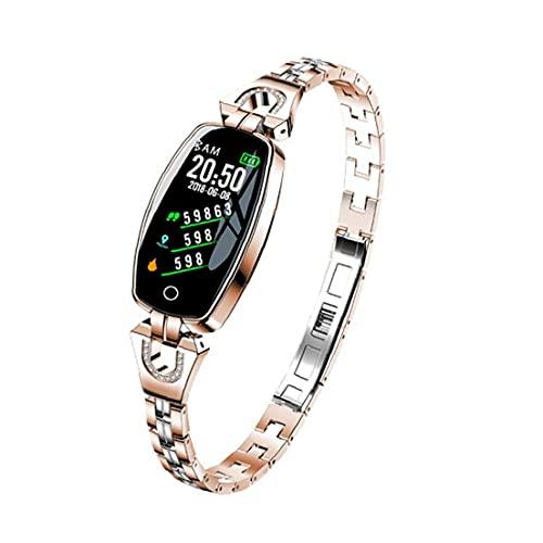 Sraeriot Smart Watch Band Tracker Watch H8 Impermeable Pulsera Inteligente Reloj De Pulsera Inteligente Ritmo Cardíaco Presión Arterial Rastreador De Fitness Para Mujeres Gold Smartwatch