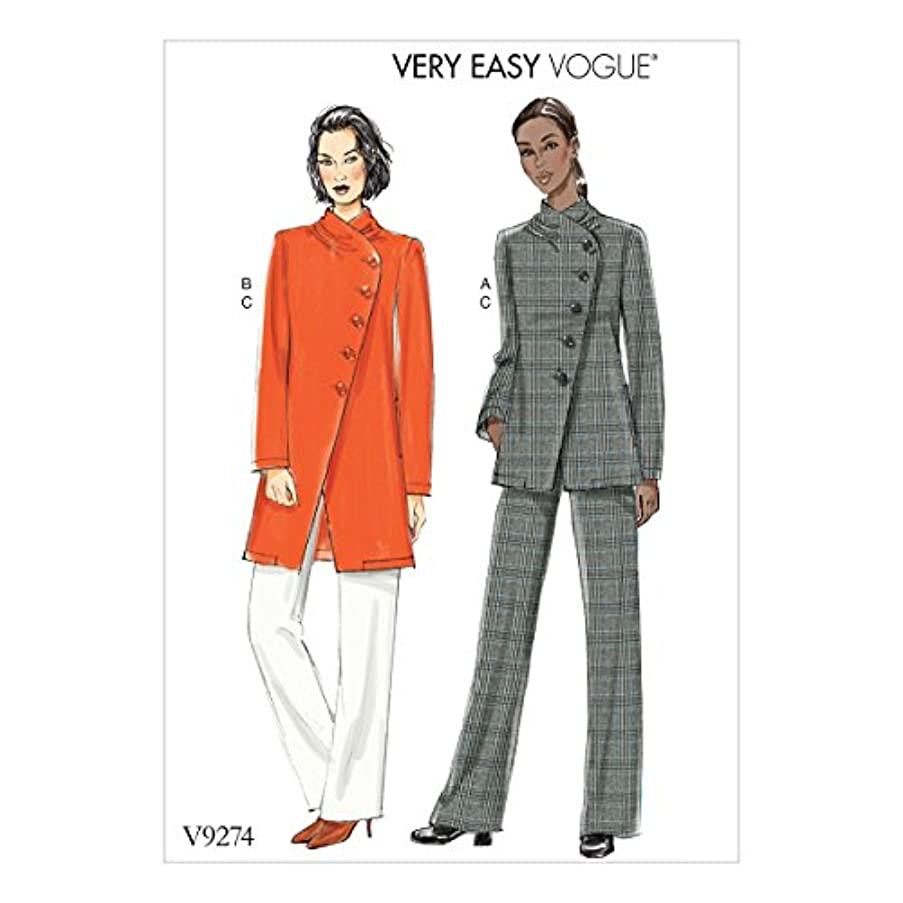 Vogue Patterns V9274A50 Casual Misses' Asymmetrical Lined Jacket, and Pull-On Pants Red