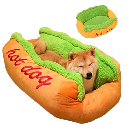 TTBD Hot Dog Form Hundebett, Hundekorb Katzebett Bett Hundekissen Korb Katzenbett Lounger Bed Kennel Mat Weiche Faser Hund Welpen Warme Weiche Bett-Haus Für Hund Und Katze,L 29.5cmx25.6x9.8