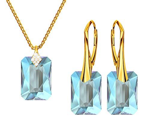 *Beforya Paris* Novedad Smeraline Shimmer* - Plata 925 / Chapado en oro de 24 K - Joyas con cristales de Swarovski Elements - Pendientes y collar con caja de regalo