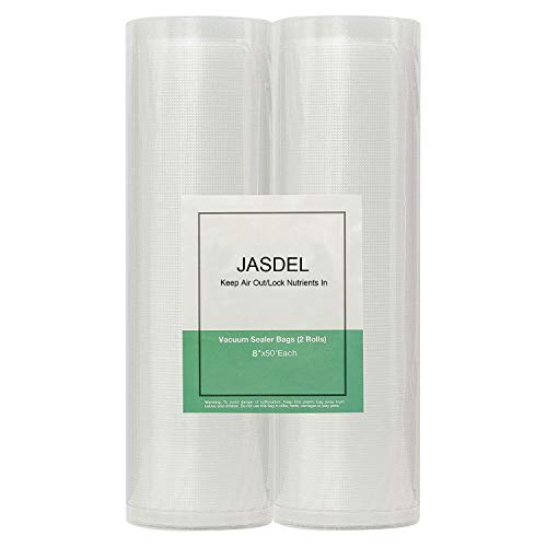 Jasdel Best Vacuum Sealer Bags, Food Saver Bags Rolls, Seal a Meal Bags, 8 x 16 Rolls 2 Pack Food Savers Bags, Commercial Grade, BPA Free, Heavy Duty, Puncture Prevention, Great for vac storage, Meal Prep or Sous Vide