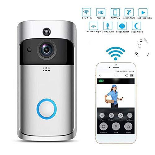 GZMDE Huisbeveiliging 720P HD Smart Video deurbel, 166° groothoek, bewakingscamera, 2-weg audio talk, bewegingsdetectie, nachtzicht, app-afstandsbediening voor iOS/Android