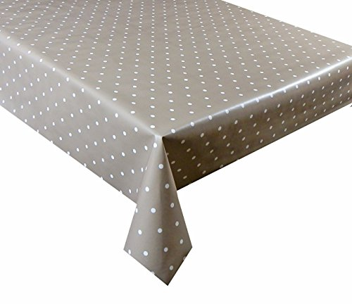 linen702 Beige Polka Dot Vinyl Tablecloth | Suitable For Up To A Six Seater Table | Rectangle Table Cloth | Easy Wipe Clean | Textile Backed Plastic Tablecloth | 2 Metre Length