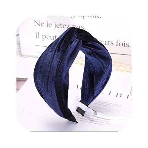 Vintage Cheveux Accessoires Femmes Hairband Velours Serre-tête Nœud Turban Large Côté Headwear Bandeau Beige Hairband Bleu marine Taille