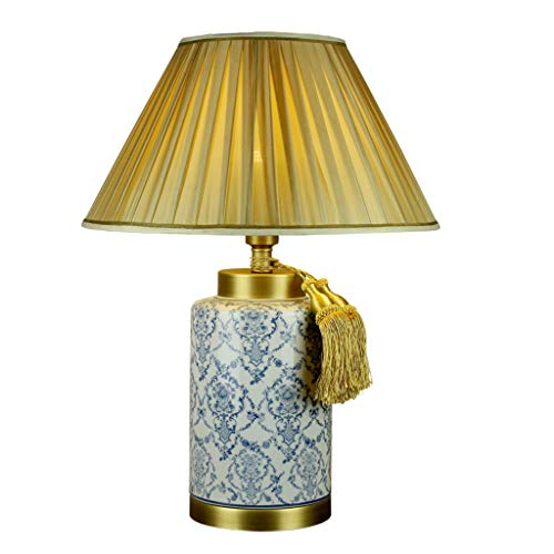 CKH Bureaulamp, blauw en wit porselein, Chinees licht, luxe woonkamer, slaapkamer, bedlampje, doek lampenkap met franjes