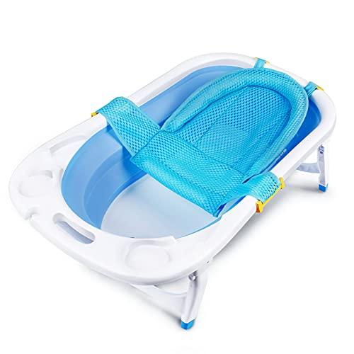 Bañera Plegable para Bebés y Red De Baño Compacto Para Bebe Niños 0-36 Meses (azul)