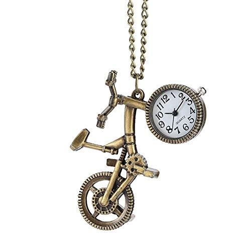 Taschen- und Armbanduhr Taschenuhr Retro-Fahrrad-Shaped Quarz Taschenuhr Bronze Rad Halsketten-Anhänger Clock Mode Geschenke for Männer Frauen Jugendliche Fahrrad-Liebhaber (Color : Bronze)