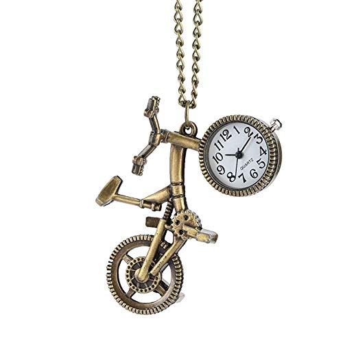 J-Love Reloj de Bolsillo de Cuarzo con Forma de Bicicleta Retro, Collar con Rueda de Bronce, Reloj Colgante, Regalos de Moda para Hombres, Mujeres, niños, Amantes de la Bicicleta