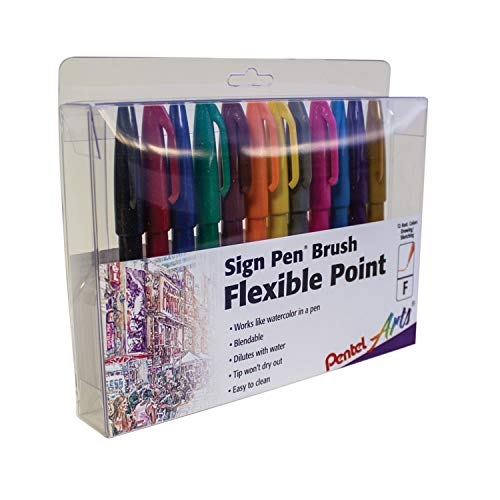cheap 12 colors for Pentel felt-tip pen touch, fuse brush tip, marking stand (SES15CPC12)