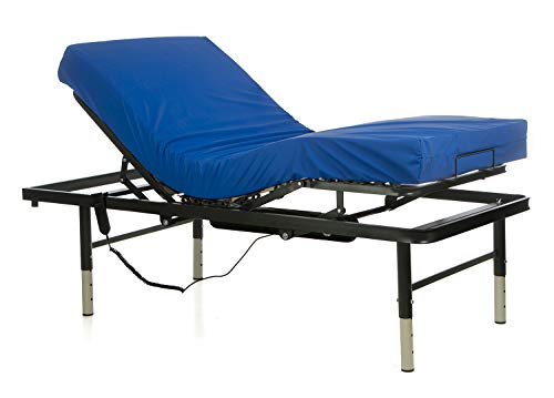 Ferlex - Cama articulada eléctrica geriátrica hospitalaria con Patas Regulables | Colchón Sanitario viscoelástico (90x190)