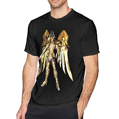 Camiseta de Manga Corta para Hombre Capricorn Shura Saint Seiya Top Casual clásico con Cuello Redondo