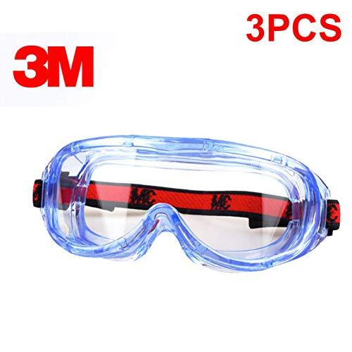 Occhiali di sicurezza, occhiali protettivi per occhiali trasparenti, occhiali antipolvere antivento anti-saliva anti-nebbia, occhiali per miopia adatti e occhiali regolabili per la fascia (3pcs)