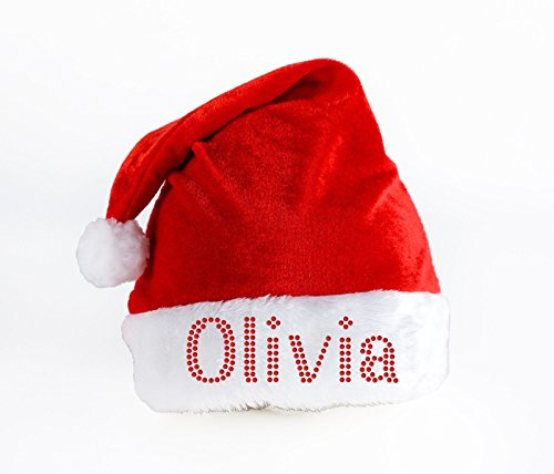 Personalised SANTA CLAUS Hat Luxury Crystal Christmas hat eve Party Xmas Festive gift By Varsany