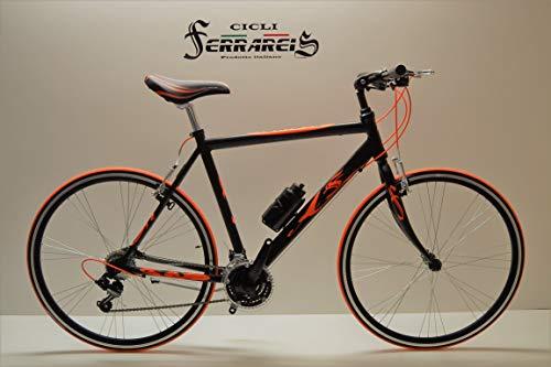 Cicli Ferrareis Bici Corsa Ibrida Bicicletta Uomo in Alluminio Shimano Ibrida 21v Nera Personalizzabile