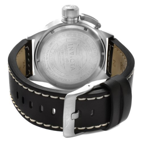 """Invicta Men's 1110 """"Corduba Collection"""" Stainless Steel and Black Leather Watch"""