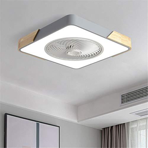 LED Deckenventilator, Mit Beleuchtung Fernbedienung Und Anwendungskontrolle, Ultra Dünn Unsichtbar Leise Mit 3 Windgeschwindigkeit Dimmbar Deckenleuchte Für Schlafzimmer Wohnzimmer,Grau,B