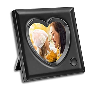 KWANWA Voice Recordable Picture Frame - 3.9 x 3.9 Inch Heart Shaped Desk Photo Frame - 20 Seconds Recording  Black 3.9 3.9 Inch
