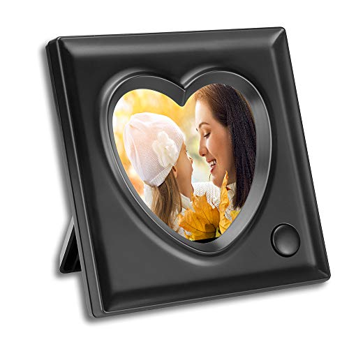 KWANWA Voice Recordable Picture Frame - 3.9 x 3.9 Inch Heart Shaped Desk Photo Frame - 20 Seconds Recording (Black, 3.9 3.9 Inch)