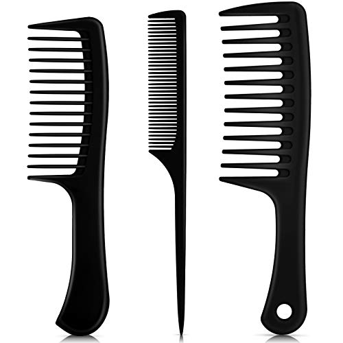 3 Pieces Handle Hair Combs Wide Tooth Hair Comb Detangling Comb Tail Comb Styling Comb Anti-static for Thick Hair Long Hair and Curly Hair (Black)