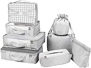 Packing Cubes 8 Sets Latest Design Travel Luggage Organizers Include Waterproof Shoe Storage Bag Convenient Packing Pouches for Traveller (Grey)