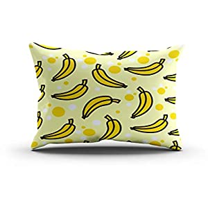 Houlor Throw Pillow Cover 12 X 20 Inches Pattern Banana Yellow Color Boudoir Cushion Pillowcase One Side Print for…