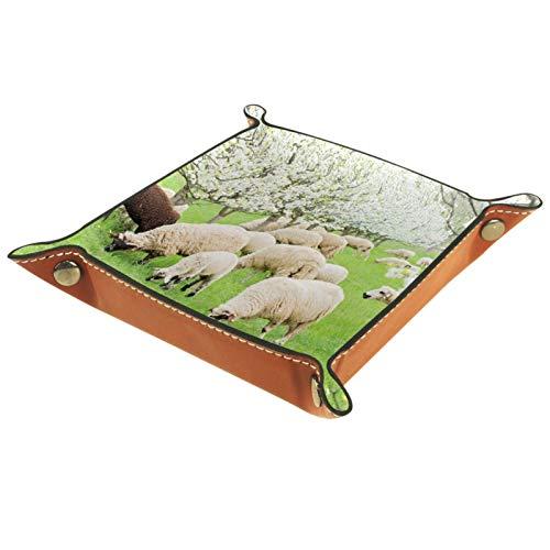 Caja de almacenamiento pequeña, bandeja de valet para hombre,Prado de ovejas floreciendo árboles de primavera ,Organizador de cuero para llaves de caja de monedas
