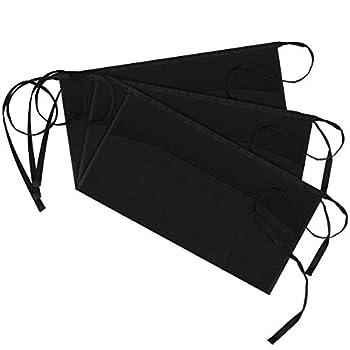 Syntus 3 Pack 3 Pockets 100% Cotton Waitress Waist Apron,11.5-inch Black