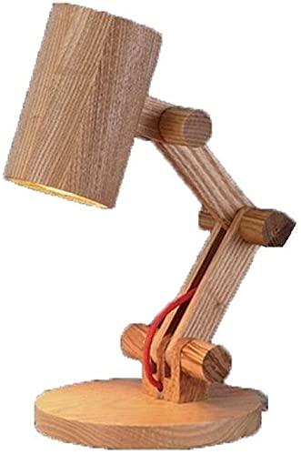 LATOO Lámpara de Mesa Lámpara de mesa mesa de noche clara corta, vida, función, aprendizaje, lectura de ni?os, plegable, lámpara de mesa de madera con guión retro, lámpara de mesa de oscilación de mad