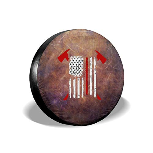 Sootot Spare Wheel Tire Cover Bags Firefighter Red Line American Flag with Crossed Axes Spare Tire Cover Tire Protectors Fits Tire Diameter 14 Inch Spare Wheel Covers 17 Kart tyr