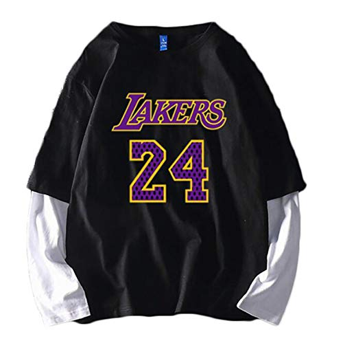 MMADD Basketball Trikot Nr. 24, zum Gedenken an Bryant, Stitching Fake Two Longsleeve T-Shirt, bequemes Shirt, Schwarz, M