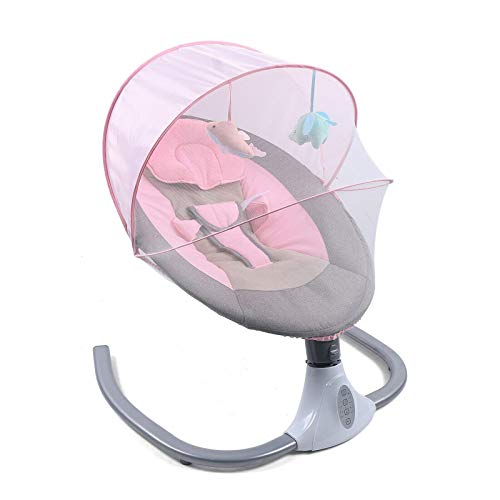 Dondolo elettrico per bambini, dondolo pieghevole e portatile, Sdraietta Dondolino Reclinabile con 5 velocità di altalena USB, 3 colori (rosa)
