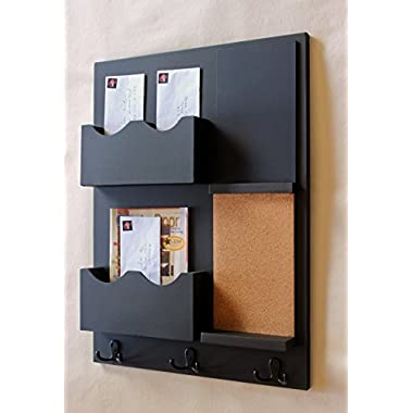 Legacy Studio Decor Mail Organizer Cork Board Chalkboard Coat Hooks Double Mail Slots (Smooth, Black)
