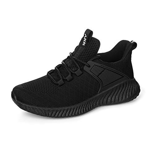 Akk Womens Running Workout Shoes - Non Slip Lightweight Gym Mesh Sneakers for Walking, Tennis, Training, Outdoor Sport Black