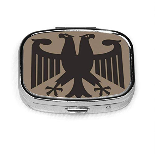 Pastillero cuadrado con 2 compartimentos Estuche pequeño para pastillas Portátil Caja de pastillas de viaje Alemán Fantástico Águila imperial Heritage Bird Rusia Insignia de armas rusas Berlín