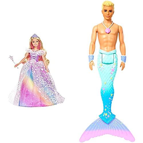 Barbie Dreamtopia Superprincesa, Edad Recomendada: 3-10 años, Multicolor (GFR45) + Dreamtopia Muñeco Ken Tritón, Regalo para Niñas y Niños 3-9 Años (Fxt23), Color/Modelo Surtido