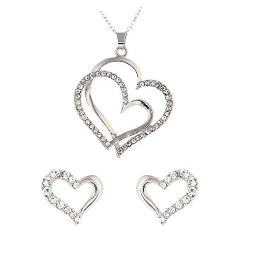 Fashion Heart Shaped Necklace Earrings Ladies Jewelry Set Christmas 2021 New Year Valentine's Day Jewellery Birthday Gifts for Women Friends Presents for Her Wife Mum