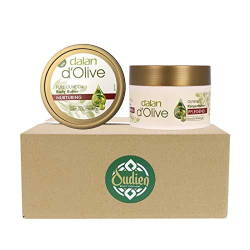 OUDIEN 2er Set dalan d'olive Körperbutter, intensive Feuchtigkeitscreme für trockene Haut, Bodybutter mit Olivenöl 2x250ml