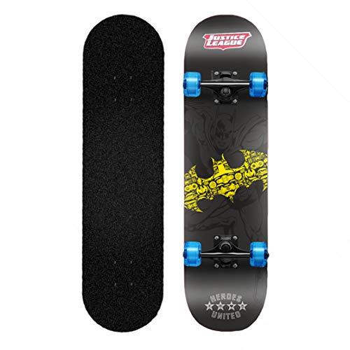 Skateboard Anfänger Komplett Doppeltritt Trick Skateboard 9 Schicht Ahorn Pro Deck Leuchtendes PU 4 Wheel Skateboard mit Rucksack Schlüssel zum Jugend Kind Junge,Bat-Man
